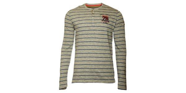 Pánske šedé pruhované tričko TBS