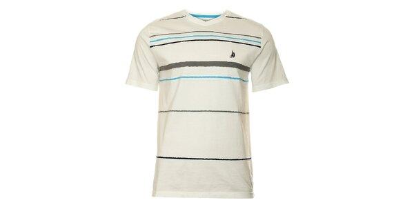 Pánske biele proužkované tričko TBS