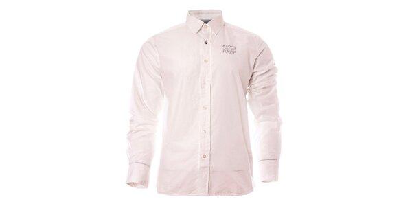 Pánska biela košeľa s dlhým rukávom a logom TBS