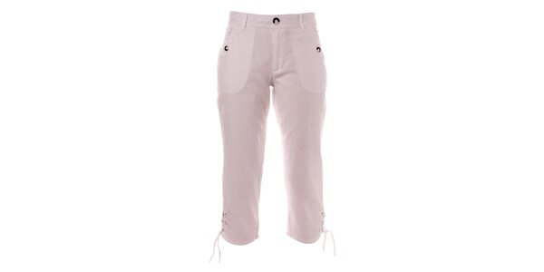 Dámske biele capri nohavice s gombíkmi TBS