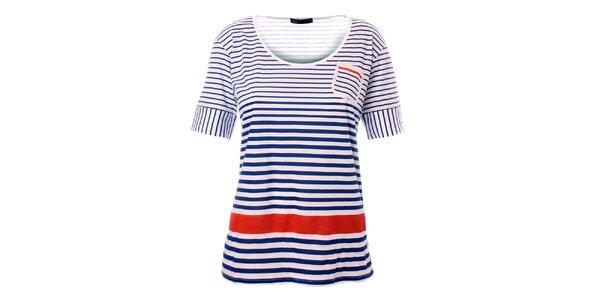 Dámske modro-biele námornícke tričko s červeným pruhom TBS