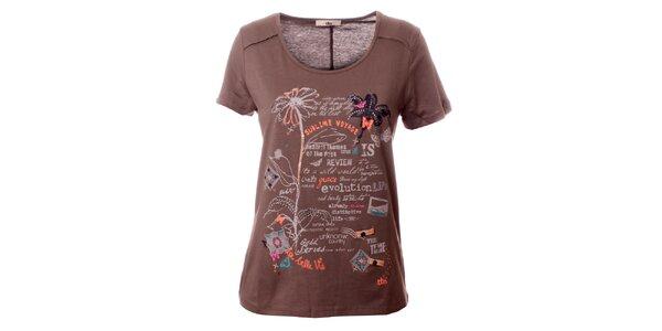 Dámske hnedé tričko s potlačou TBS