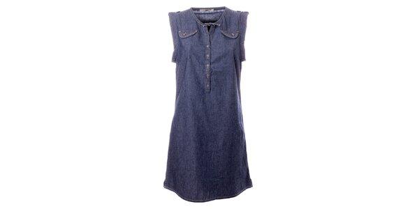 Dámske modré denimové šaty s vreckami TBS