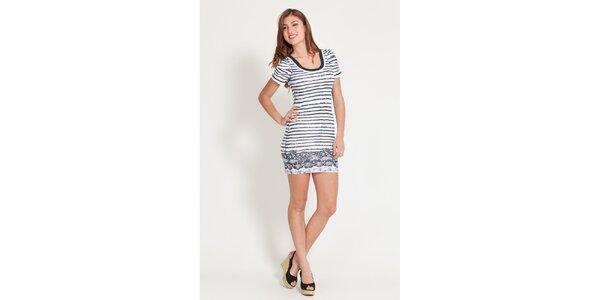 Dámske modro-biele pruhované šaty Lois