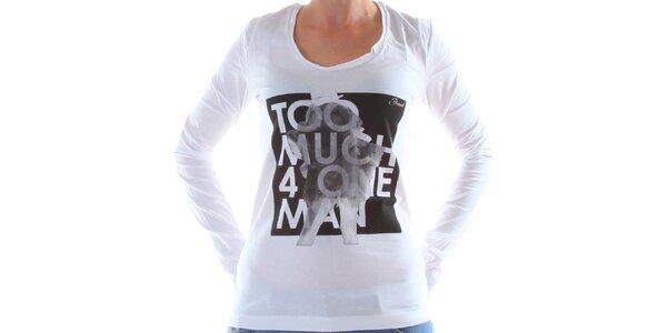 Dámske biele tričko s dlhým rukávom a potlačou Diesel