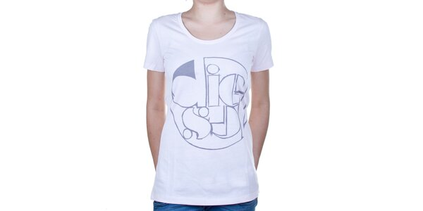 Dámske biele tričko s potlačou Diesel
