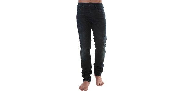 Pánske tmavo modré džínsy s šisovanými pruhmi Diesel