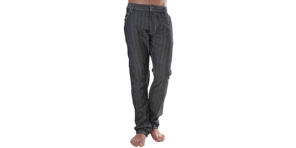 Pánske čierne pruhované džínsy s prímesou ľanu Diesel