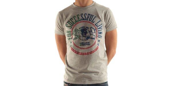 Pánske šedé tričko s potlačou Diesel