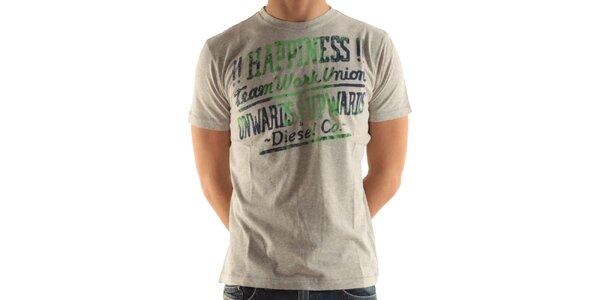 Pánske svetlo šedé tričko s potlačou Diesel