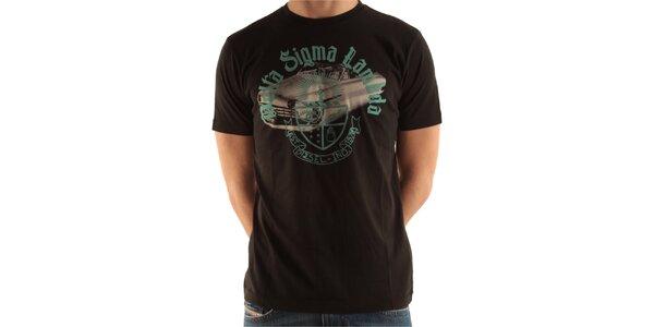 Pánske čierne tričko s potlačou Diesel