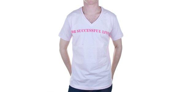 Pánske svetlo ružové tričko s nápisom Diesel