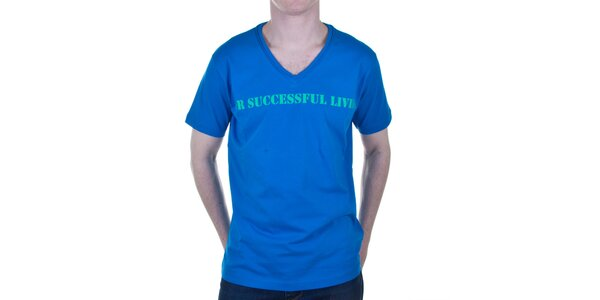 Pánske modré tričko s nápisom Diesel