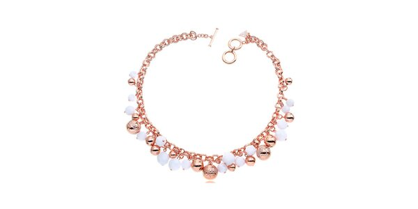 Dámsky ružovo-biely náhrdelník s korálkami Guess