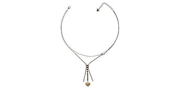 Dámsky jemný náhrdelník so zlatým srdiečkom Guess