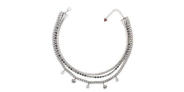 Dámsky strieborný náhrdelník s príveskami Guess