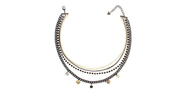 Dámsky čierno-zlatý náhrdelník s príveskami Guess