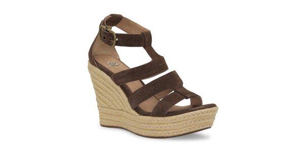 Dámske čokoládové kožené sandálky Ugg s jutovým klinom