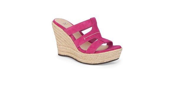 Dámske malinové kožené topánky Ugg
