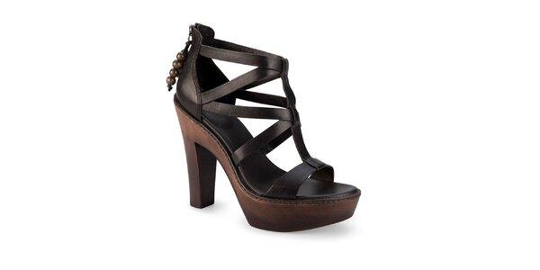Dámske čierne kožené sandále Ugg