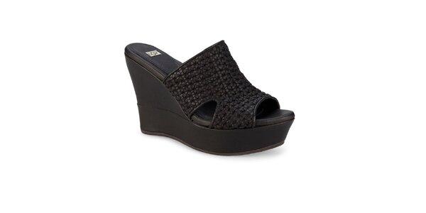 Dámske čierne splietané topánky Ugg na vysokom kline
