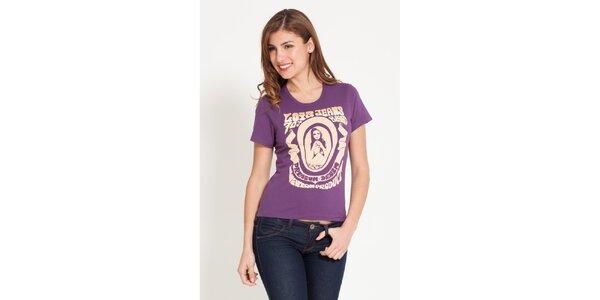 Dámske fialové tričko Lois s potlačou