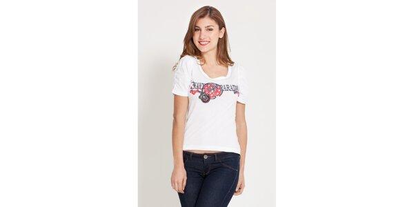 Dámske biele tričko Lois s potlačou a kamienkami