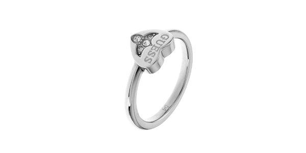 Dámsky strieborný prsteň so srdiečkom Guess
