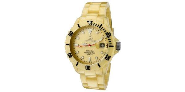 Zlaté plastové hodinky Toy s perleťovým povrchom