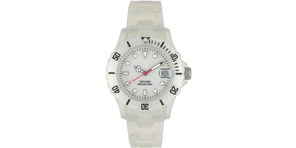 Biele plastové hodinky Toy s perleťovým povrchom