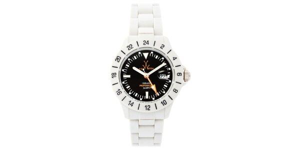 Čierno-biele analógové hodinky Toy