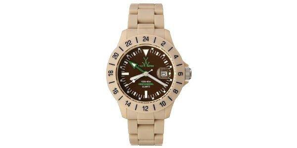 Béžové analógové hodinky Toy so zelenými detailmi