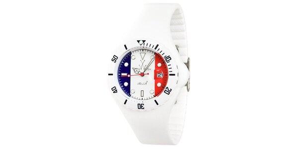 Biele hodinky Toy s motívom francúzskej vlajky a silikónovým remienkom