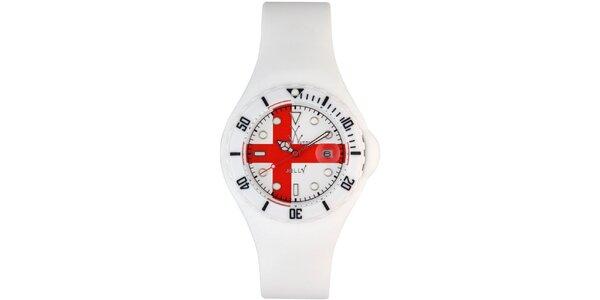 Biele hodinky Toy s červeným krížom a silikónovým remienkom