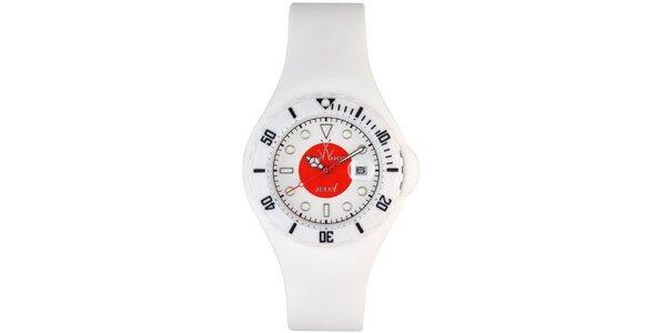 Biele hodinky Toy s motívom japonskej vlajky a silikónovým remienkom