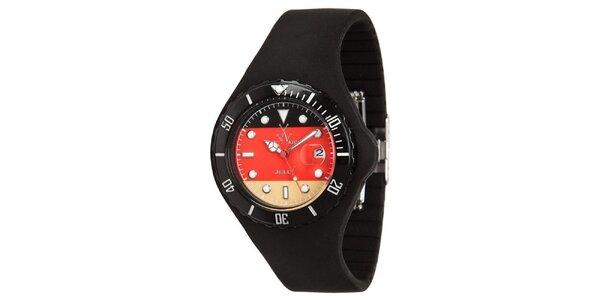 Čierne hodinky Toy s motívom nemeckej vlajky a silikónovým remienkom