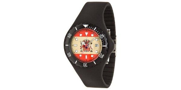 Čierne hodinky Toy s motívom španielskej vlajky a silikónovým remienkom