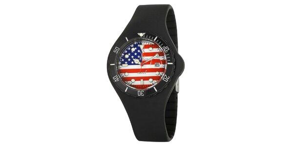 Čierne hodinky Toy s motívom americkej vlajky a silikónovým remienkom