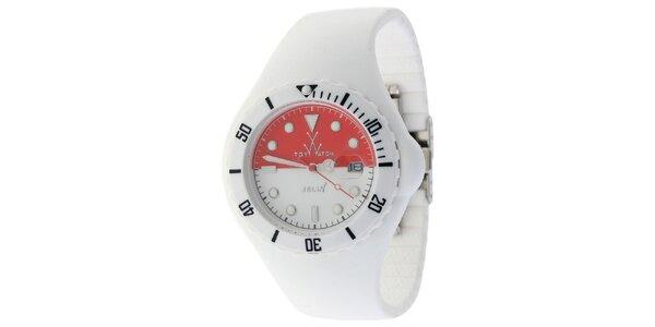 Biele hodinky Toy s motívom indonézkej vlajky a silikónovým remienkom