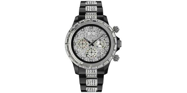 Pánske čierno-strieborné analógové hodinky s kryštálmi Toy