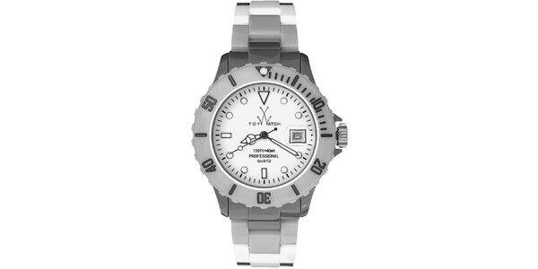 Dámske šedostrieborné plastové hodinky Toy