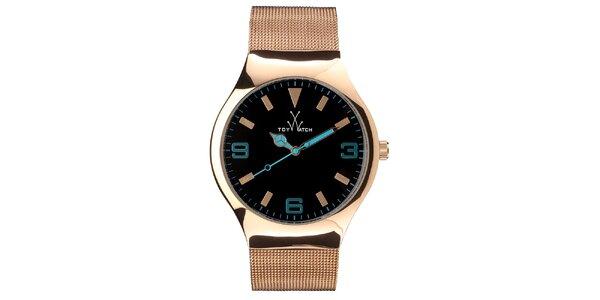 Zlato-ružové analógové hodinky Toy s tyrkysovými detailmi