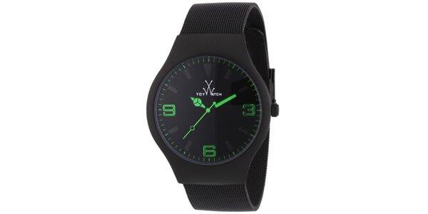 Čierne analógové hodinky so zelenými detailmi Toy