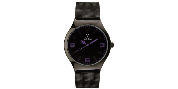 Čierne analógové hodinky s fialovými detailmi Toy