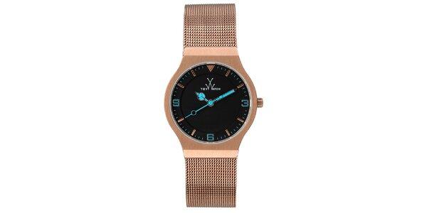 Ružovo-zlaté analógové hodinky s modrými detailmi Toy