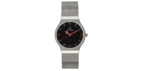 Strieborné analógové hodinky s červenými detailmi Toy
