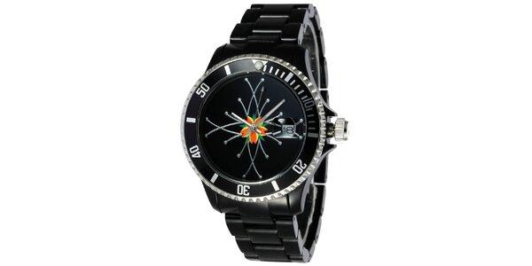 20388cad290 Dámske čierne plastové hodinky Toy s motívom kvetu