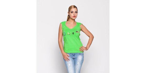 Dámske zelené tričko Giorgio di Mare so zlatou potlačou