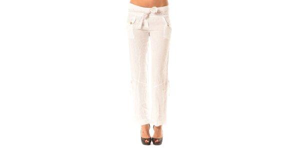 Dámske biele ľanové nohavice s mašľou Pink Garden