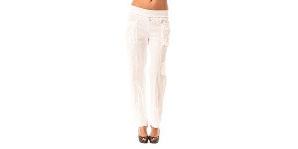 Dámske biele voľné nohavice Pink Garden